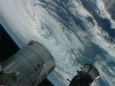 Hurricane Sandy was viewed from station<br /> cameras in the Bahamas off the east coast<br /> of Florida.<br /> Credit: NASA TV